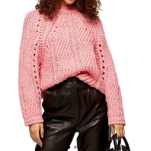 Topshop pink chevron pointelle sweater